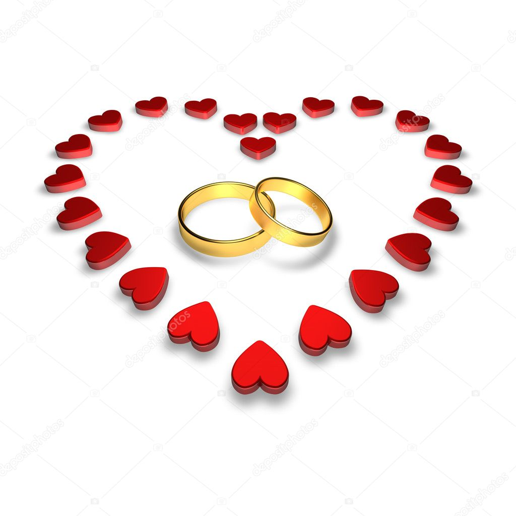 Wedding rings encircled by hearts — Stock Photo #2244114