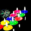 Closeup view of the christmas candles. - Stock Photo