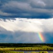 Cloudscape with beautiful rainbow. — Stock Photo