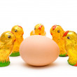 Eastern chocolate chicks admiring an egg — Stock Photo