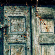 Old grunge door background - Stock Photo