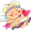 Stock Vector: Cupid and heart