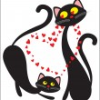 Black enamoured cats - Stock Vector