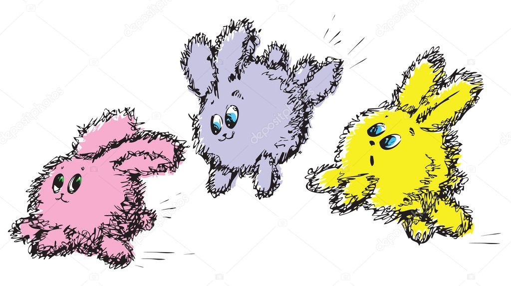 Small rabbit, baby animal, hare with greater ears.Cheerful game of rabbits. Easter rabbits. Cubs of animals. — Stock Vector #2244823