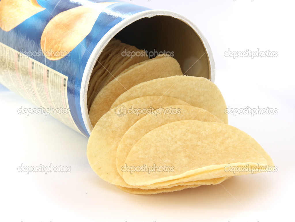 Potato chips on white background in a can — Stock Photo #2586491