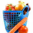 Blue plastic shopping bag with grocery — Stock Photo