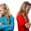 Two girls are angry at each other — Stock Photo