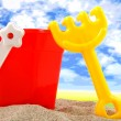 Plastic play toys for at the beach — Stock Photo