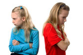 Two girls are angry at each other — Foto de Stock