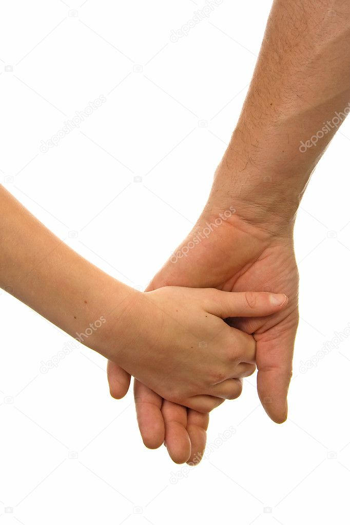 Adult man and child holding hands over white background — Stok fotoğraf #2176522