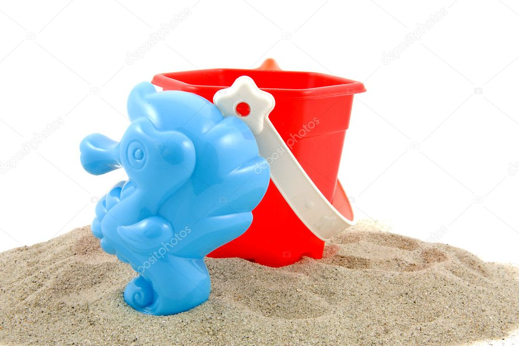 Plastic play toys for at the beach over white background — Stock Photo #2177092