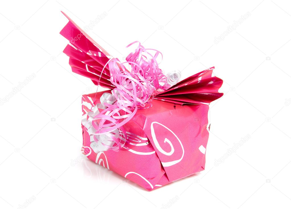 Beautiful wrapped gift for birthday or valentine's day over white background  Foto Stock #2177835