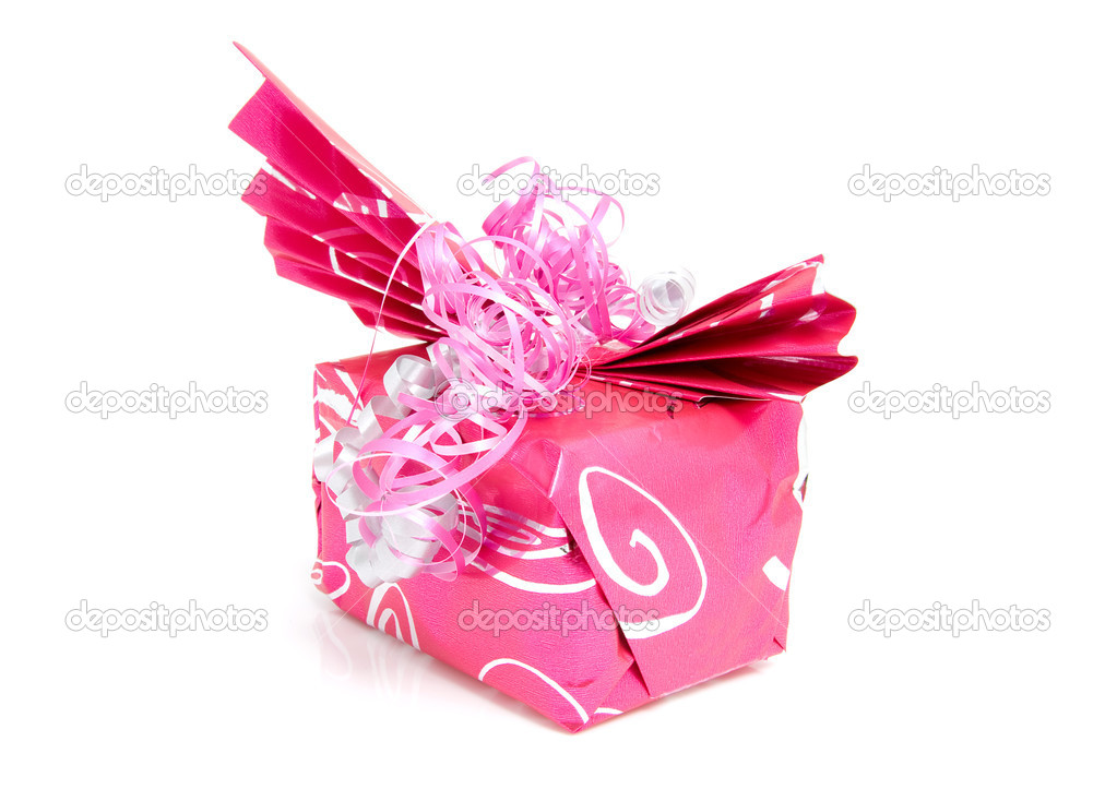 Beautiful wrapped gift for birthday or valentine's day over white background — Lizenzfreies Foto #2177835