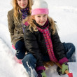 Royalty-Free Stock Photo: Two girls on a sled