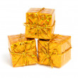 Golden shiny presents — Stock Photo