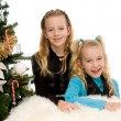 Two children near christmas tree — ストック写真