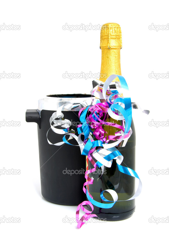 Festive champagne next to cooler over white background — Stock Photo #2206959