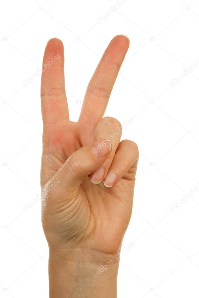 Woman's hand counting number 2 over white background  Stockfoto #2209844