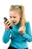 Girl is angy at the phone — Stock Photo