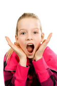 Girl who is surprised — Stock Photo