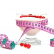 Royalty-Free Stock Photo: Yogurt,berrie fruit and measure tape
