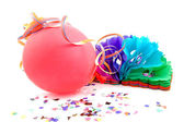 Balloon and party streamers — Stock Photo