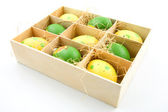 Nine painted easter eggs in a box — Stock Photo