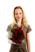 Ragazza con rose — Foto Stock
