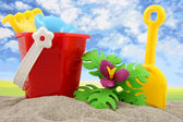 Plastic toys for beach and vacation — Stockfoto