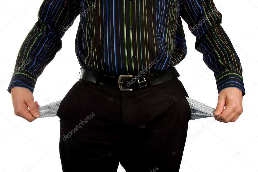Man is showing his empty pockets — Stock Photo #2532537
