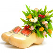 Traditional Dutch yellow wooden shoes — Stock Photo
