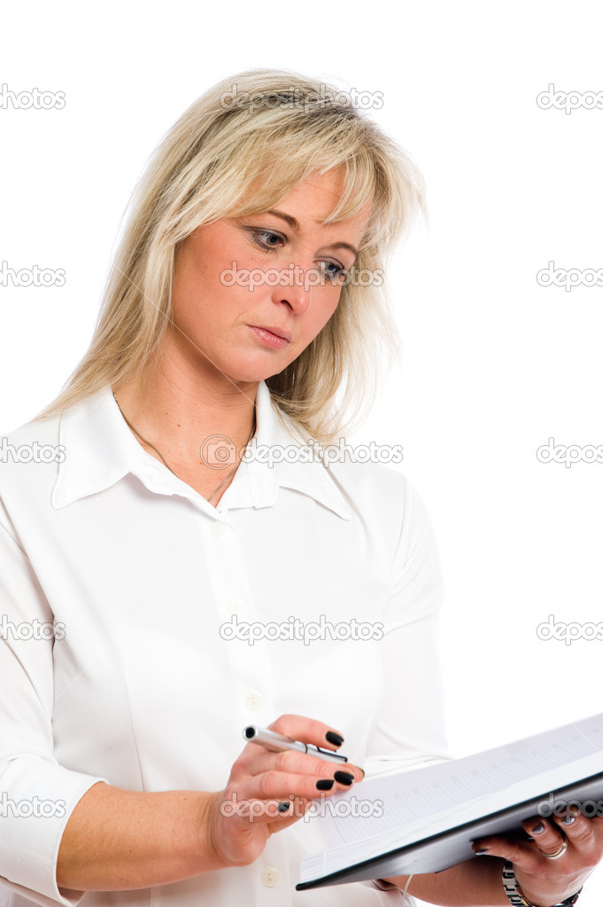 Young blond businesswoman is planning dates — Stock Photo #2179097