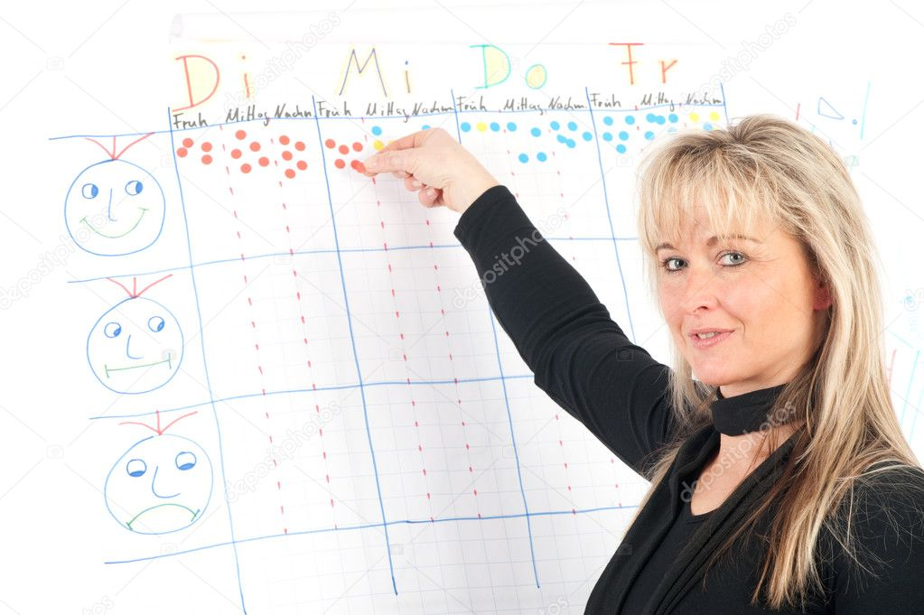 Educates young presenter on a flip chart — Stock Photo #2179984