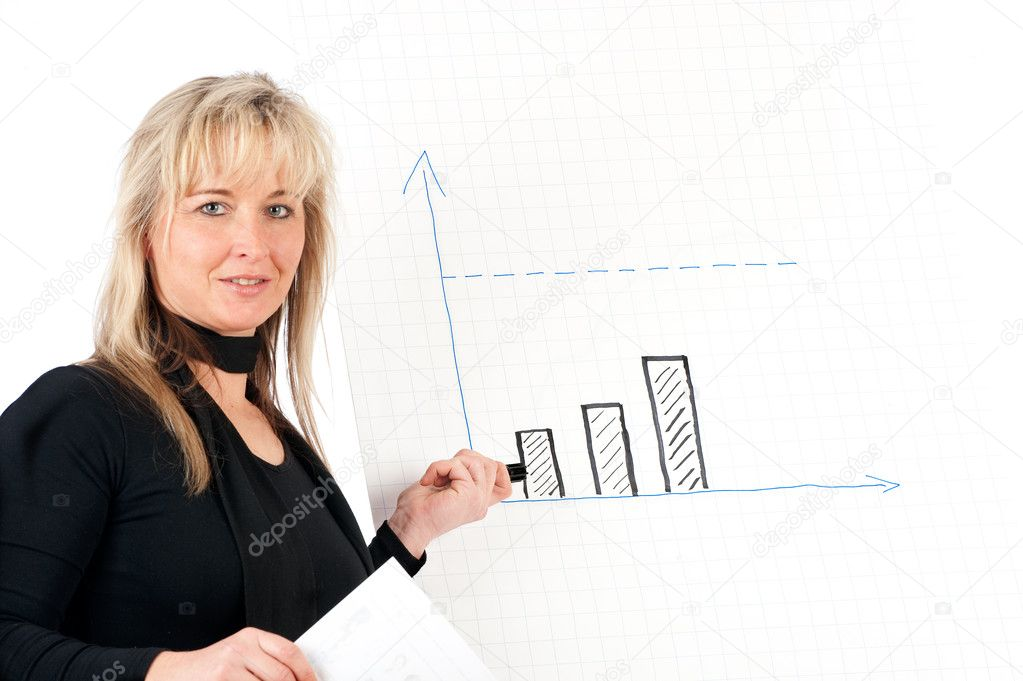 Educates young presenter on a flip chart — Stock Photo #2180003