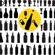 Royalty-Free Stock Vector Image: Bottle and glasses silhouette vector