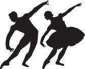 Ballet silhouette vector — Stock Vector