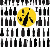 Bottle and glasses silhouette vector — Stock Vector