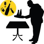 Waiter silhouette vector — Stock Vector