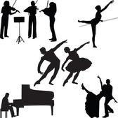 Music silhouette vector — Stock Vector