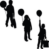 Children with balloon silhouette vector — Stock Vector