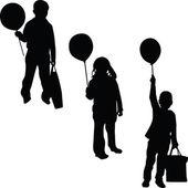 Children with balloon silhouette vector — Stock Vector