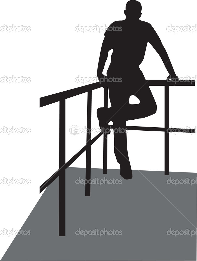 Man on the fence silhouette vector  — Imagen vectorial #2430419