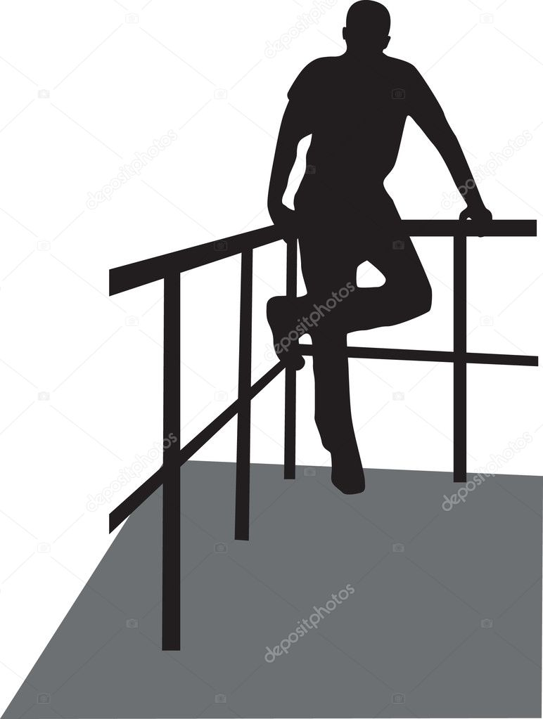 Man on the fence silhouette vector  — Stock vektor #2430419