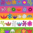 Stock Vector: Vector flowers pattern set