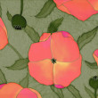 Red poppies on green background — Stock Photo