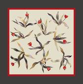 Tulip square scarf vector — Stock Vector
