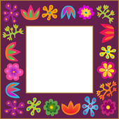 Violet vector flowers frame — Stock Vector