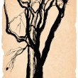 Old trees shabby paper pen drawing — Stock Photo #2607127