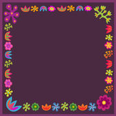 Violet vector flowers frame square — Stock Vector