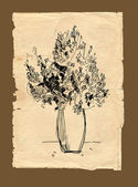 Freehand drawing bouquet on old paper — Stock Photo